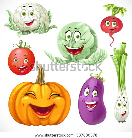 Cartoon vegetables smiles pumpkin, green onions, cabbage, cauliflower, tomato, eggplant, radishes - stock vector