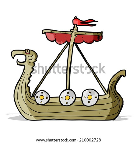 cartoon viking ship - stock vector