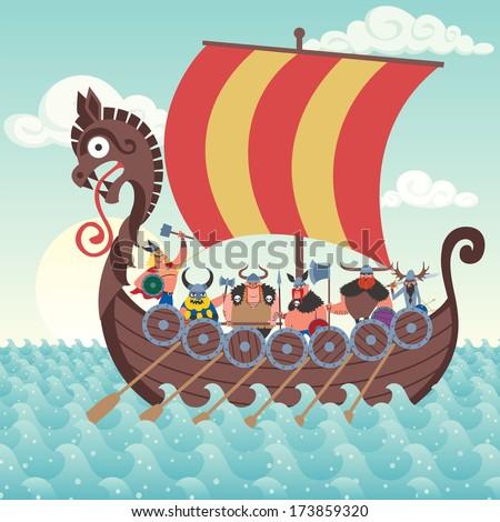 Cartoon Viking ship sailing. - stock vector