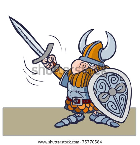 Cartoon viking warrior vith sword and shield. - stock vector