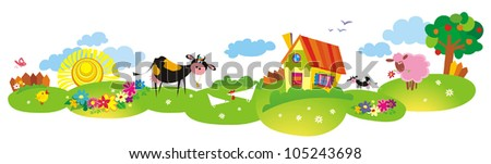 Cartoon village background with cow and color house - stock vector