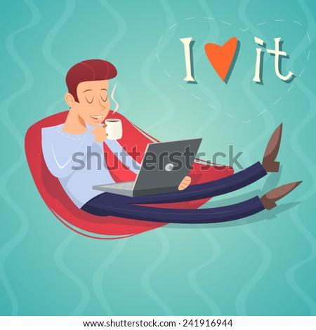 Cartoon Vintage Geek Symbol. Man with Laptop Drinks Coffee Tea Icon on Stylish Background Retro Design Vector Illustration - stock vector