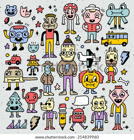 Cartoon wacky doodle colorful set 2. Vector illustration. Hand drawn.