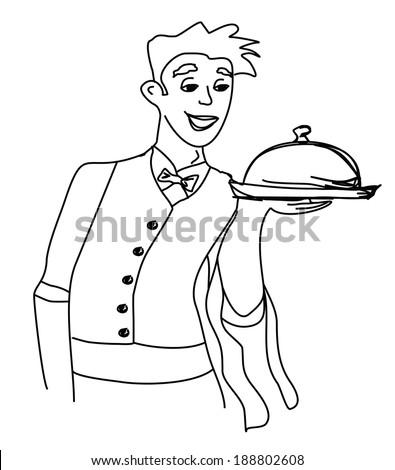 Cartoon Waiter - funny doodle illustration - stock vector