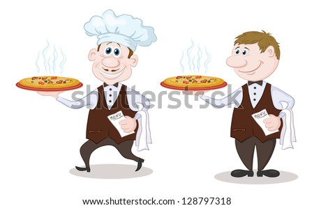 Cartoon waiters deliver a delicious hot pizza to the client, isolated on white background. Vector - stock vector