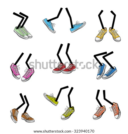 Cartoon walking feet. Step and sole, sneaker clothing, leg fashion, cute and comic, vector illustration - stock vector
