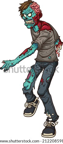 Cartoon walking zombie. Vector clip art illustration with simple gradients. All in a single layer. - stock vector