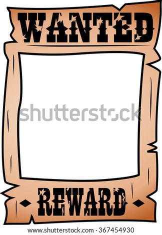 Cartoon wanted poster with rectangular whitespace for face isolated  - stock vector