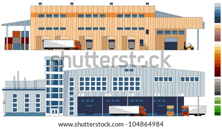 Cartoon warehouses. Series of the cartoon buildings in vector.