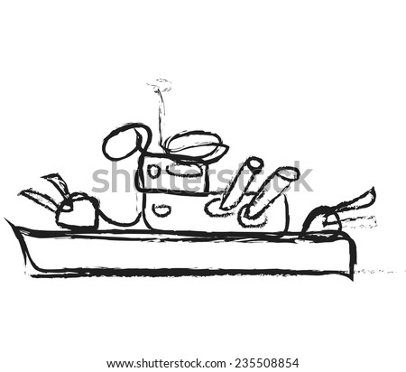 cartoon warship battleship boat ship, vector - stock vector
