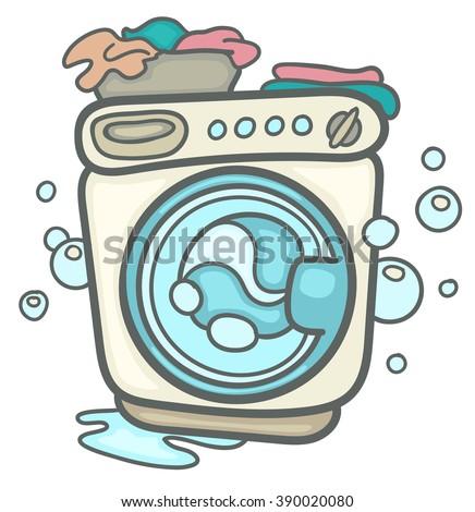 Cartoon Washing Machine - stock vector