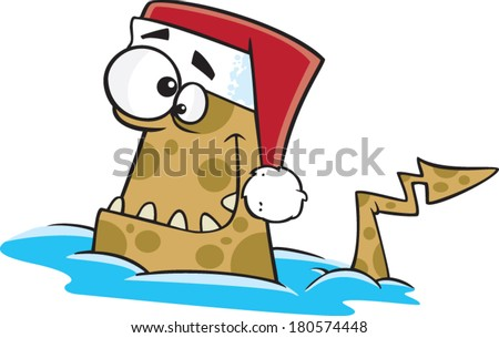cartoon water monster wearing a Santa hat