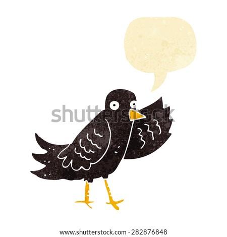 cartoon waving bird with speech bubble - stock vector
