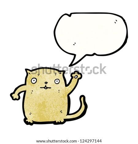 cartoon waving cat - stock vector