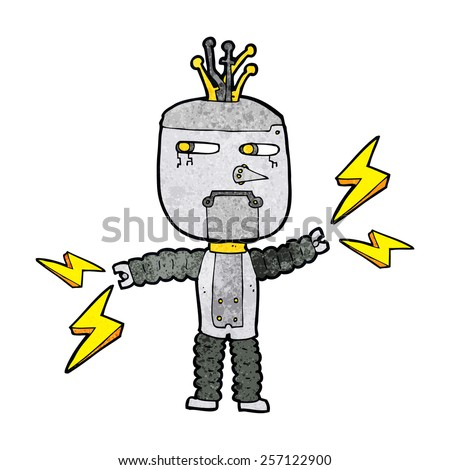 cartoon waving robot with thought bubble - stock vector
