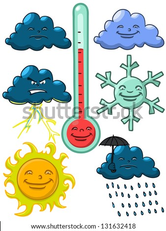 cartoon weather elements,vectors isolated on white background - stock vector