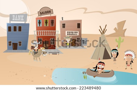cartoon western town and indian settlement - stock vector
