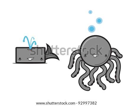Cartoon Whale & Octopus. Fun cartoon Whale & Octopus set. Vector. - stock vector