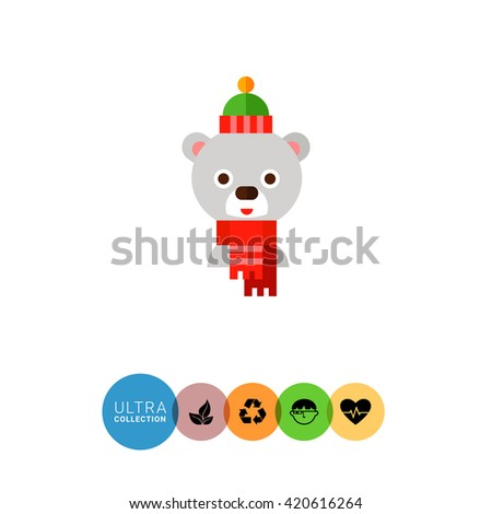 Cartoon White Bear Vector Icon - stock vector