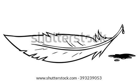 Cartoon white feather with ink spot
