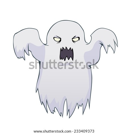 Cartoon white ghost isolated