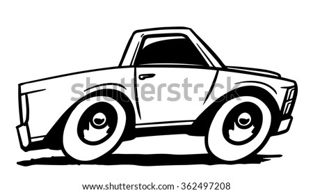 Cartoon white pick up truck. Vector illustration - stock vector