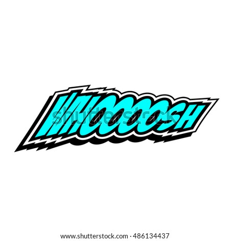 Cartoon whoosh colorful text caption vector illustration