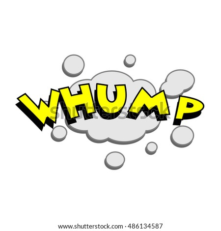 Cartoon whump colorful text caption vector illustration