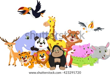 Cartoon wild animals - stock vector