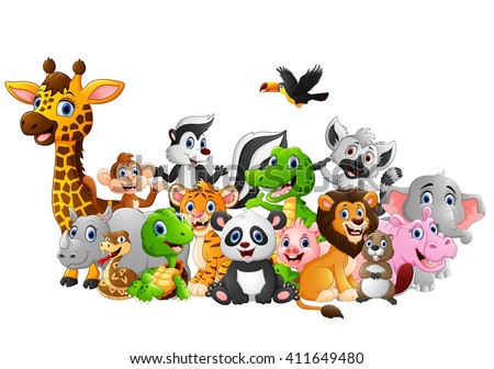 cartoon wild animals background - Images Cartoon Animals