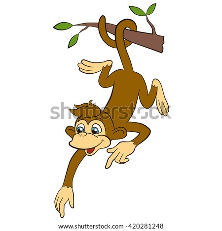 Cartoon wild animals for kids. Little cute monkey hangs upside down in the liana and points somewhere. He smiles. - stock vector