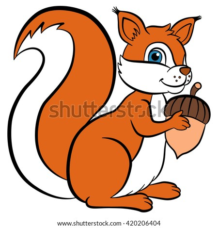 Cartoon wild animals for kids. Little cute squirrel holds an acorn in the hands and smiles. She is happy.