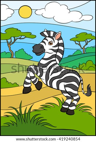 Cartoon wild animals for kids. Little cute zebra stands in the grass and smiles. - stock vector