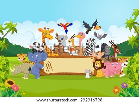 Cartoon wild animals holding banner - stock vector