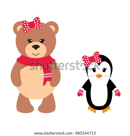 cartoon winter bear and penguin