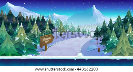 Cartoon winter landscape with ice, snow and cloudy sky. vector nature background for games. - stock vector