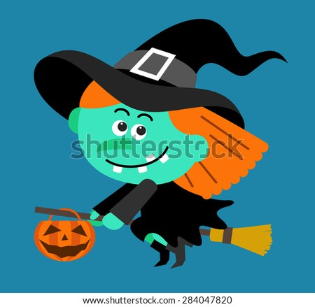 Cartoon Witch character flying with pumpkin - stock vector