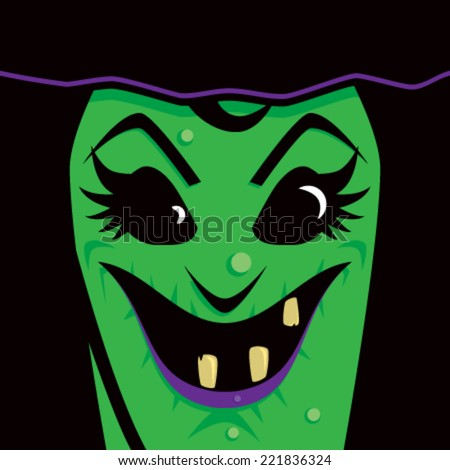 Cartoon Witch Face - stock vector