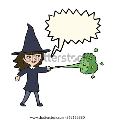 cartoon witch girl casting spell with speech bubble - stock vector