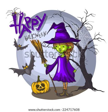 Cartoon Witch Girl With Bat, Broom And Pumpkins On Halloween Background, Eps 10 Vector Illustration