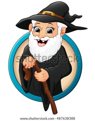 Cartoon witch old man holding stick.Vector illustration