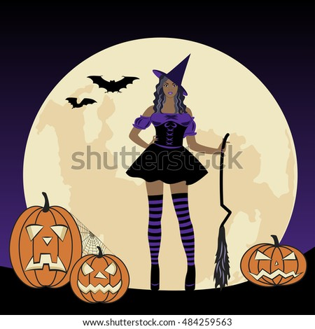 Cartoon witch with a broom on background of the moon. Halloween pattern