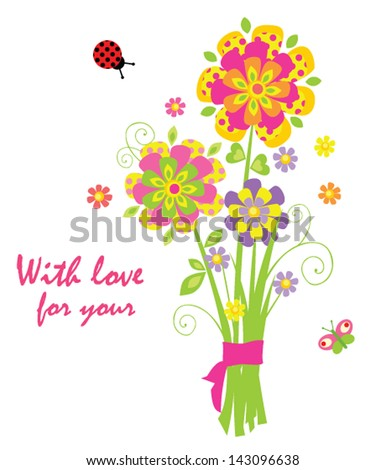 Cartoon with greeting bouquet - stock vector