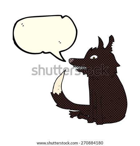 cartoon wolf sitting with speech bubble - stock vector