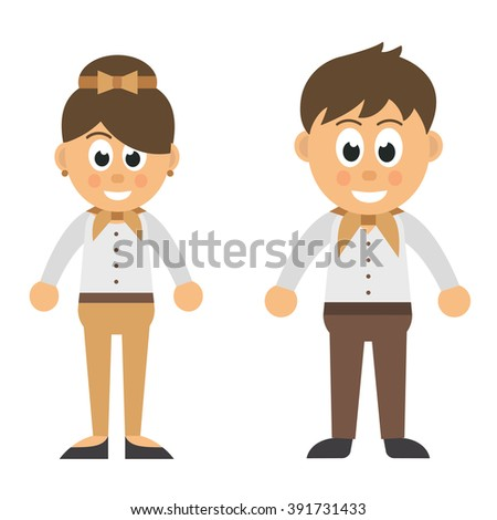 cartoon woman and man in trousers