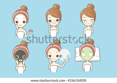 cartoon woman care her face with mask, facial, beauty