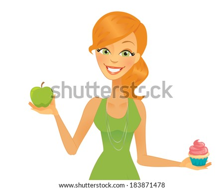 Cartoon Woman Healthy Diet Making Choices - stock vector
