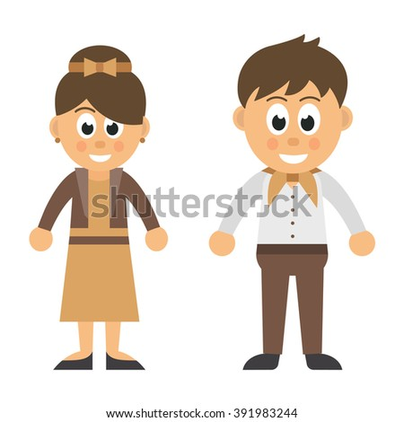 cartoon woman in jacket and dress and cartoon man