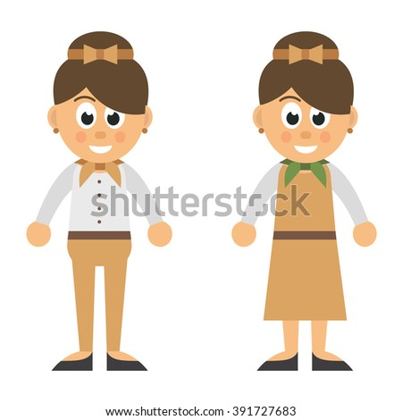 cartoon woman in trousers and dress