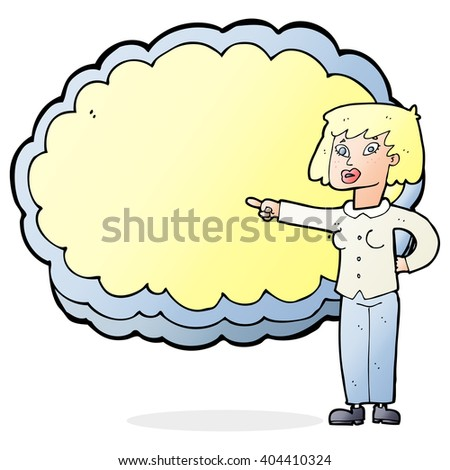 cartoon woman pointing at text cloud space - stock vector
